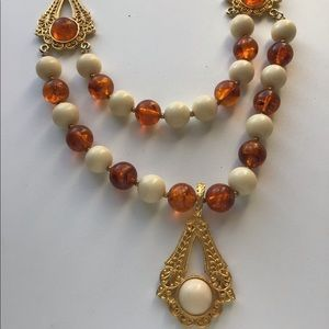 Vintage Butterscotch Lucite Regency Necklace